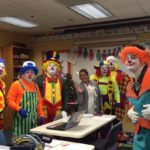 Clowns visit the classroom