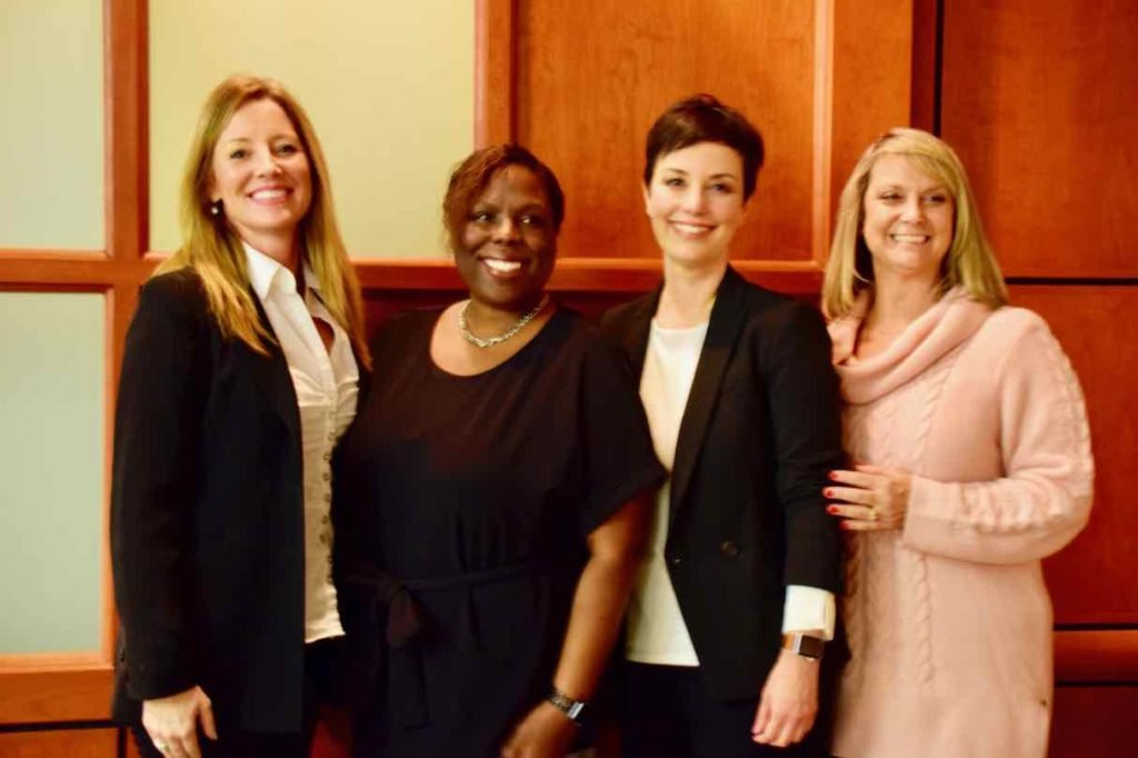 UT-UTCS administrators Holly Engleman, Nicole Whetstone, Melissa Chavez and Melissa Ruffin presented at the DDCE Lecture Series on UT Austin campus on Feb. 20.